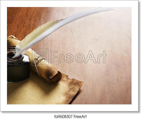 Free art print of Old paper, scroll and quill pen on wooden paper