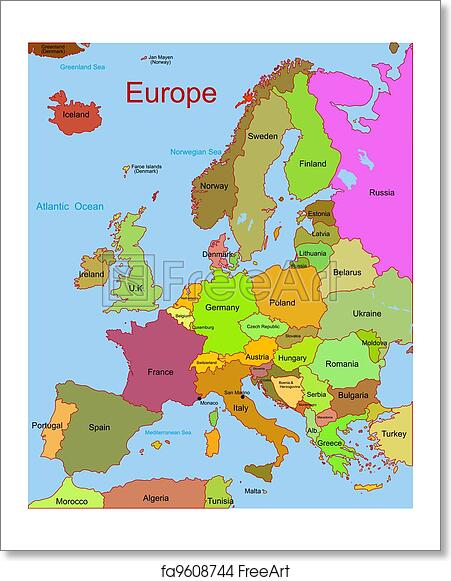 European Continent Map Free art print of Map of european continent. Detailed vector map