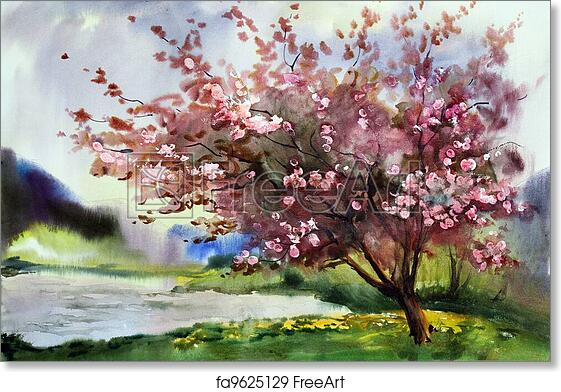 image regarding Free Printable Watercolor Pictures to Paint identified as Totally free artwork print of Watercolor portray landscape with blooming spring tree with bouquets.