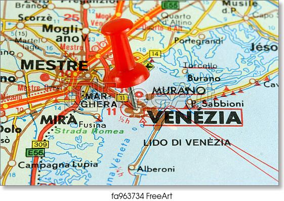graphic relating to Printable Map of Venice known as Totally free artwork print of Venica upon the map