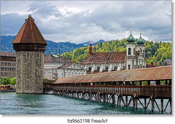 Free Art Print Of Panoramic View Of Chapel Bridge Famous Covered Wooden Bridge Lucerne Switzerland