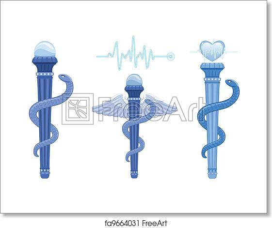 Free Art Print Of Rod Of Asclepius And Caduceus Medical Symbol