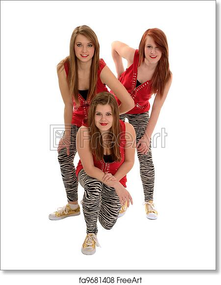 Free Art Print Of Girls Teenage Hip Hop Dance Trio Hip Hop Girls Dance Trio In Matching Performance Costume Freeart Fa9681408