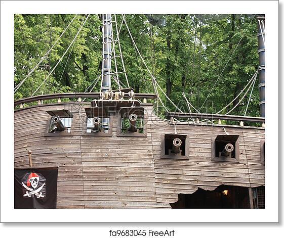 Free art print of Side of a pirate schooner