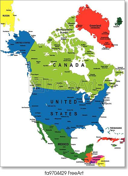 Free Art Print Of Political Map Of North America Political Map Of