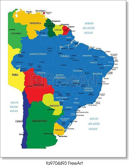Free art print of Brazil map