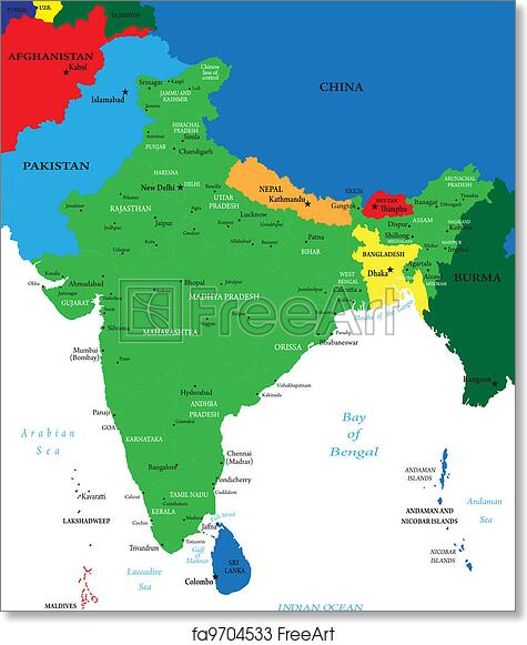 Free Art Print Of India Political Map Highly Detailed Map Of India