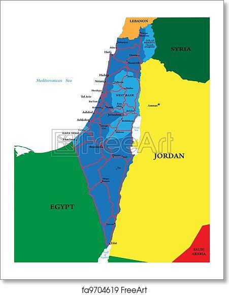 Free art print of Political map of Israel