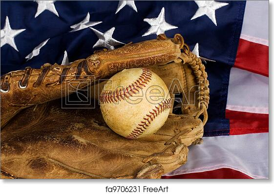 Free art print of Baseball and American Flag. Old baseball in glove ... 343be6c7c60