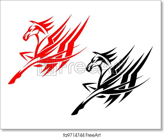 Free Art Print Of Tribal Horse Tattoo Tribal Horse In Black And Red