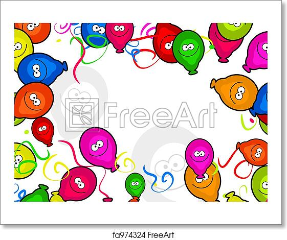 Free art print of balloon border decorative cartoon birthday party free art print of balloon border thecheapjerseys Images