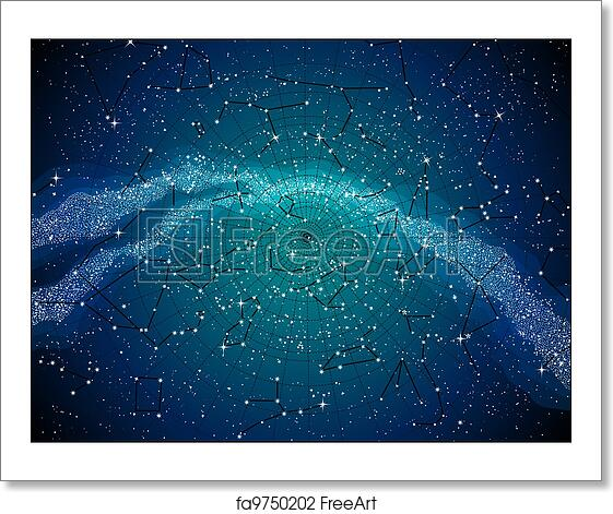 Free Art Print Of Sky Map With Constellasions Sky Map With