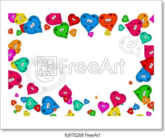 Free art print of Heart frame. Cute colourful romantic heart frame ...