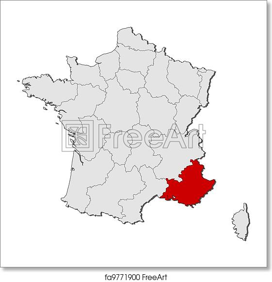 Map Of France To Print.Free Art Print Of Map Of France Provence Alpes Cote D Azur Highlighted