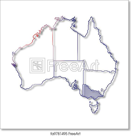 Map Australia Victoria.Free Art Print Of Map Of Australia Victoria Highlighted