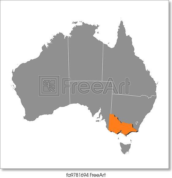 Free art print of map of australia victoria highlighted political free art print of map of australia victoria highlighted gumiabroncs Images