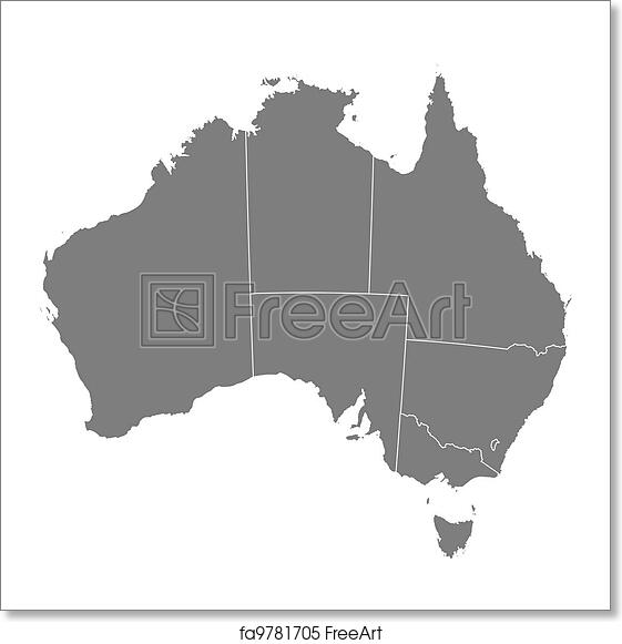 Free art print of Map of Australia. Political map of Australia with ...