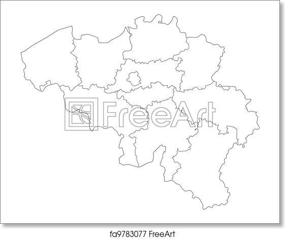 Belgien Karte Umriss.Free Art Print Of Map Of Belgium