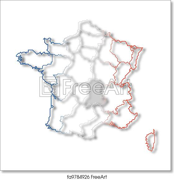 Map Of France To Print.Free Art Print Of Map Of France Auvergne Highlighted