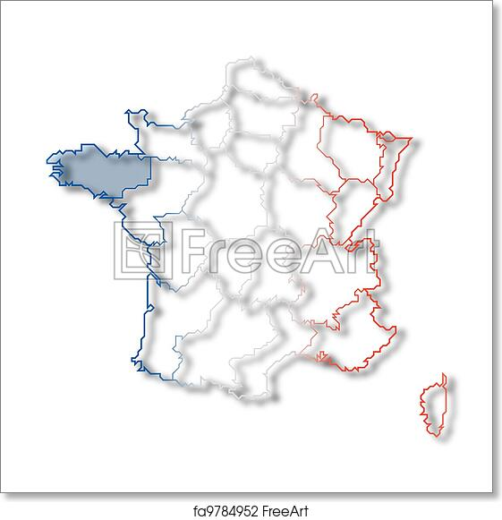 Brittany On Map Of France.Free Art Print Of Map Of France Brittany Highlighted Political Map