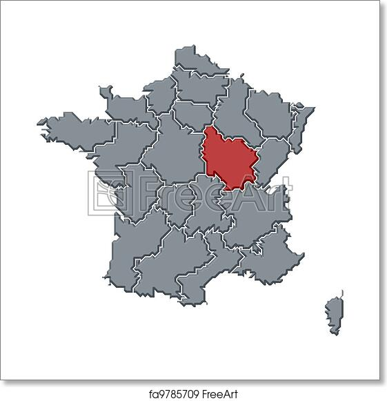 Free Art Print Of Map Of France Burgundy Highlighted Political Map
