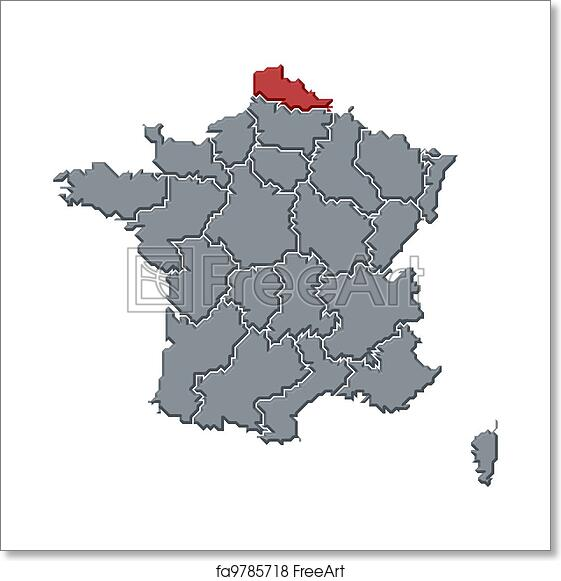 Map Of France To Print.Free Art Print Of Map Of France Nord Pas De Calais Highlighted