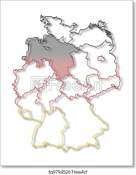 Free art print of Map of Germany, Lower Saxony highlighted ...