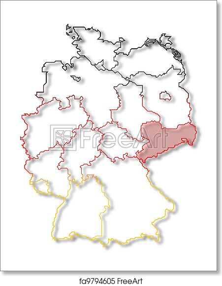 Map Of Germany To Print.Free Art Print Of Map Of Germany Saxony Highlighted
