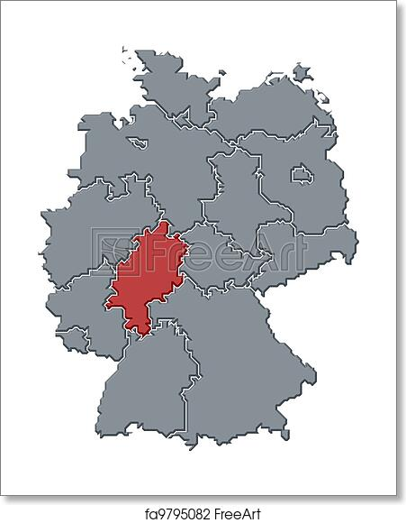 Free art print of Map of Germany, Hesse highlighted. Political map ...