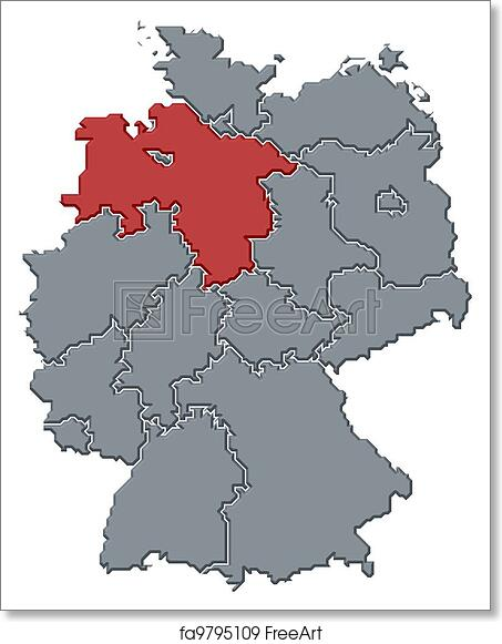 Free Art Print Of Map Of Germany Lower Saxony Highlighted