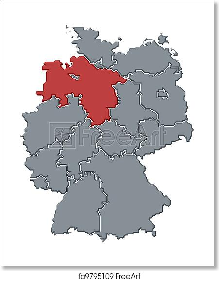 Map Of Germany To Print.Free Art Print Of Map Of Germany Lower Saxony Highlighted