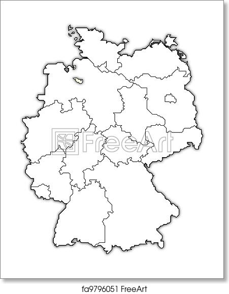 Map Of Germany To Print.Free Art Print Of Map Of Germany Bremen Highlighted