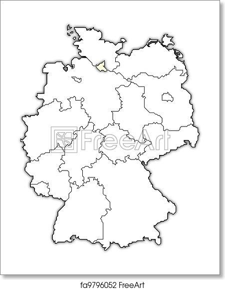 Map Of Germany Hamburg.Free Art Print Of Map Of Germany Hamburg Highlighted