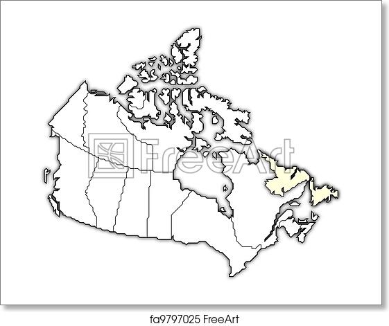 Free Art Print Of Map Of Canada Newfoundland And Labrador