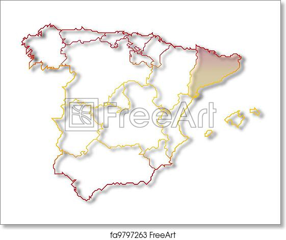 Free Art Print Of Map Of Spain Catalonia Highlighted Political Map