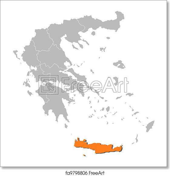 Free Art Print Of Map Of Greece Crete Highlighted Political Map Of