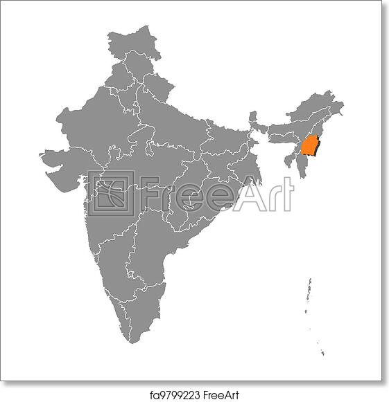 Free art print of Map of India, Manipur highlighted India Hilighted World Map on pitchers from india, top religions in india, world atlas, globe india, mountains in india, world continents india, world yoga day in india, digital technology in india, most beautiful places india, states of india, goa india, world maps before 1859, skype india, mumbai india, geography india, animals india, places in india, world from vietnam, kashmir india, people india,