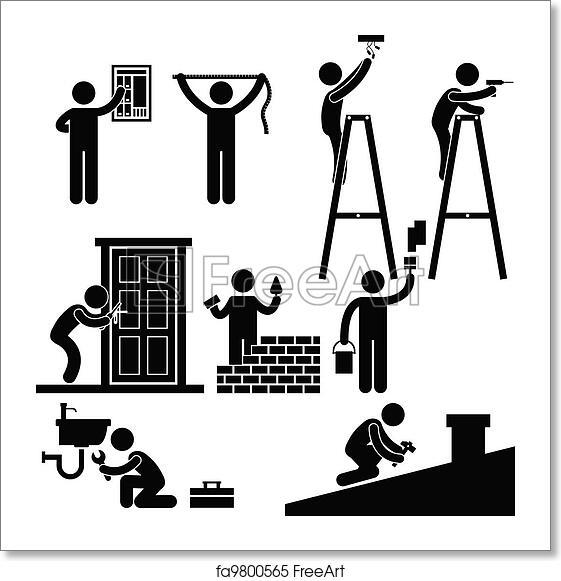 Free art print of Handyman Fixing Repairing Symbol. A set
