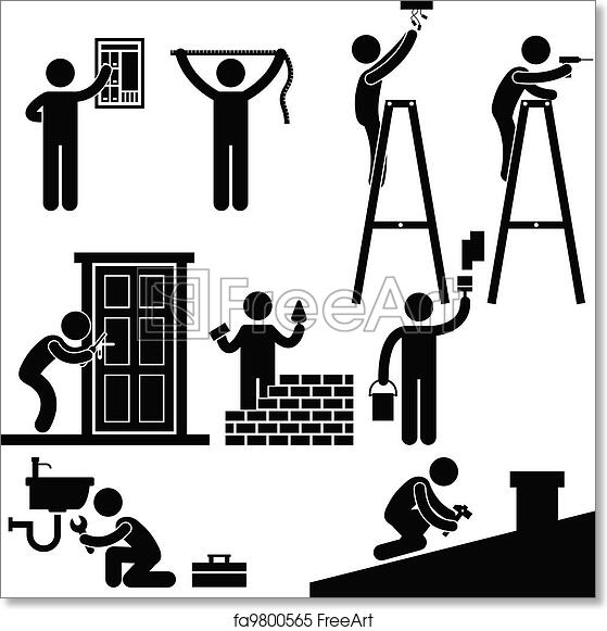 free art print of handyman fixing repairing symbol  a set of pictogram representing worker