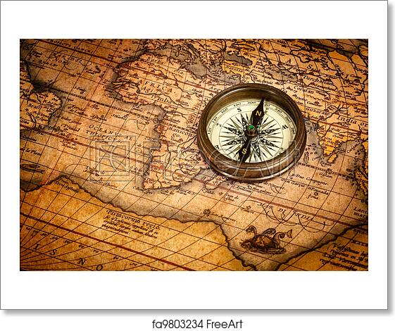Free Art Print Of Old Vintage Compass On Ancient Map