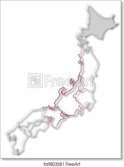 photo relating to Printable Maps of Japan named Absolutely free artwork print of Map of Japan, Hokkaido showcased