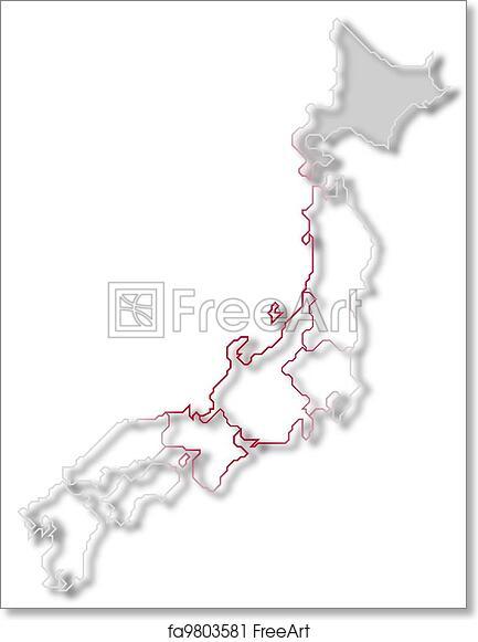 photo relating to Printable Maps of Japan named Absolutely free artwork print of Map of Japan, Hokkaido showcased