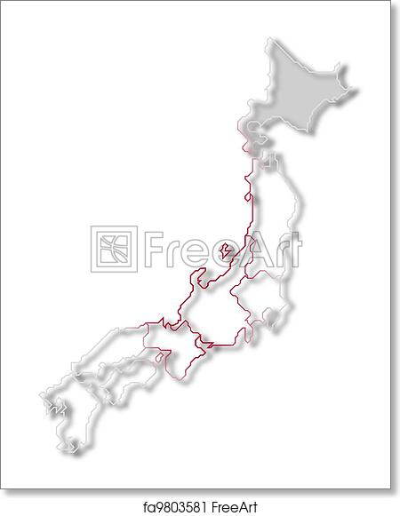 Free Art Print Of Map Of Japan Hokkaido Highlighted Political Map