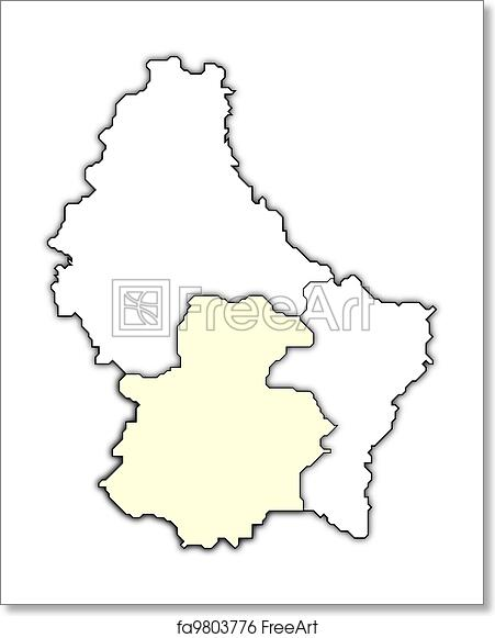 Free art print of Map of Luxembourg, Luxembourg highlighted