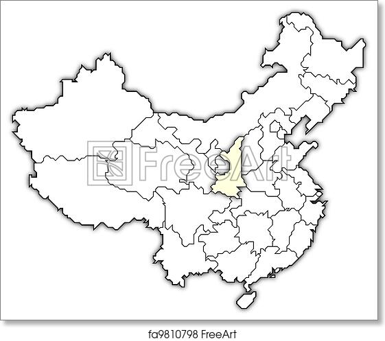 free art print of map of china shaanxi highlighted political map Tibet On World Map 2018 political map of china with the several provinces where shaanxi is highlighted