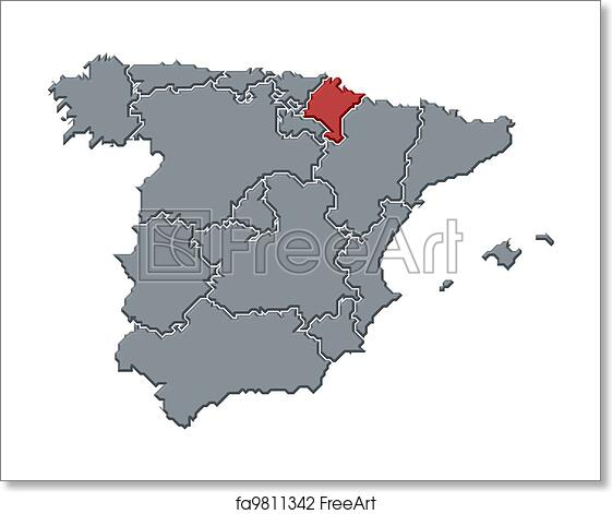 Map Of Spain With Regions.Free Art Print Of Map Of Spain Navarre Highlighted