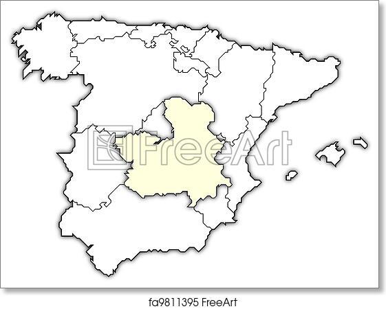 Map Of Spain La Mancha.Free Art Print Of Map Of Spain Castile La Mancha Highlighted