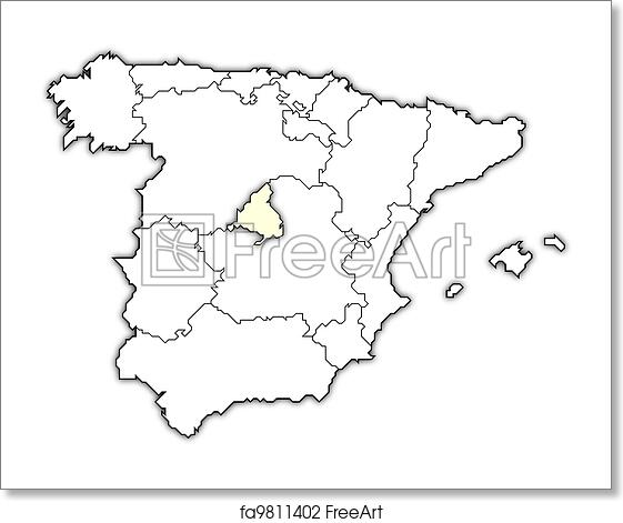 Map Of Spain With Madrid.Free Art Print Of Map Of Spain Madrid Highlighted