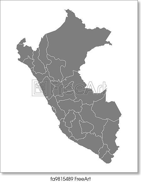 Peru Karte Umriss.Free Art Print Of Map Of Peru