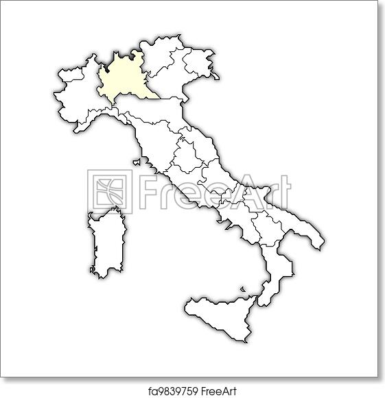 Map Showing Regions Of Italy.Free Art Print Of Map Of Italy Lombardy Highlighted